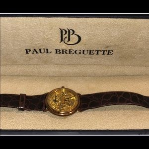 Paul Breguette gentlemen's gold skeleton watch